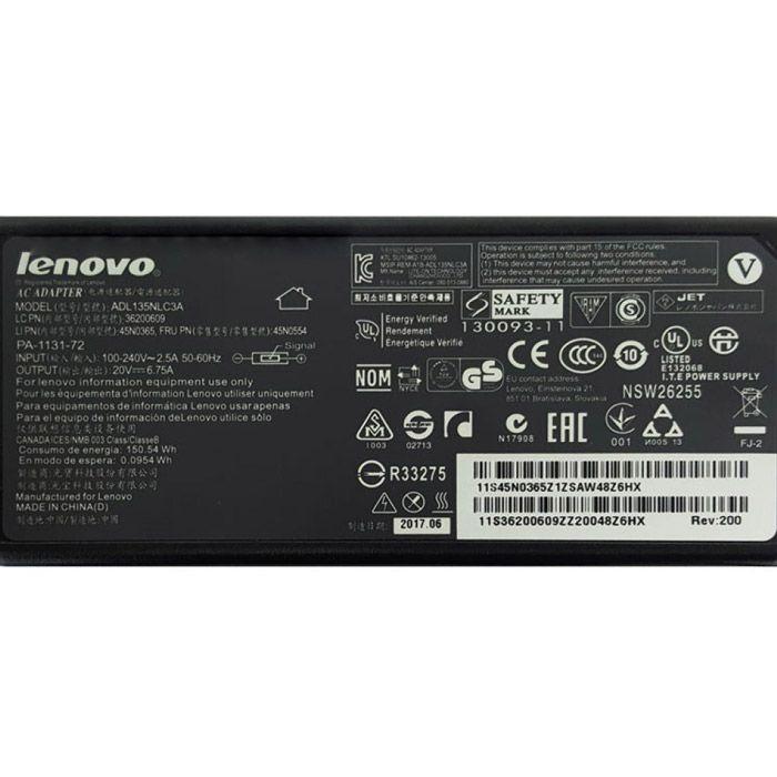آداپتور لپ تاپ ۲۰ ولت ۶٫۷ آمپر لنوو سر فیش یو اس بی