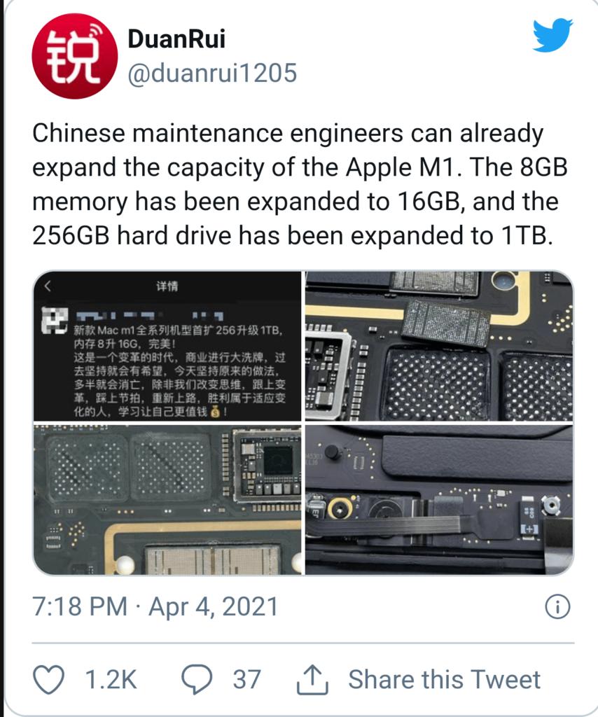 ارتقا حافظه ذخیرهسازی و رم تراشه M1